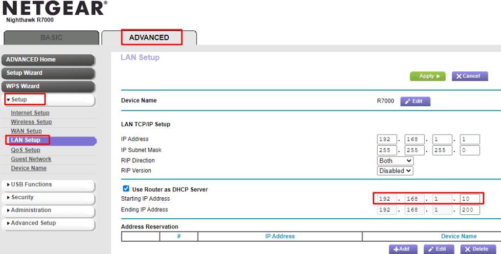 Netgear router DHCP settings