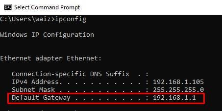 command line - Default gateway