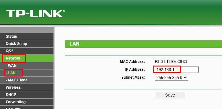 TP-LINK Ip address settings